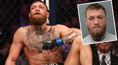 Conor McGregor after defeat to Khabib Nurmagomedov and (inset) a handout photo supplied by Miami Beach police following his arrest