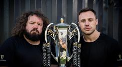 Former Irish International Tommy Bowe and former Welsh International Adam Jones caught up over a pint of the black stuff ahead of this weekend's highly anticipated final round of the 2019 GUINNESS SIX NATIONS Wales v Ireland fixture. Sometimes less is more, drink Guinness Sensibly. Visit www.drinkaware.ie Mandatory Credit ©INPHO/Billy Stickland