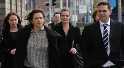Siblings: The Quinn children, from left, Aoife, Brenda, Ciara, Colette (partially hidden) and Sean Jr, at the Four Courts. Photo: Collins Courts
