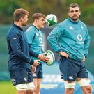 Ireland's call: Tadhg Beirne (right), with team-mates Rhys Ruddock, Jordi Murphy and Garry Ringrose, has had to look on from the sidelines in this Six Nations. Photo: David Fitzgerald/Sportsfile