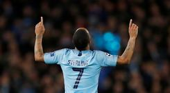 Soccer Football - Round of 16 Second Leg - Manchester City v Schalke 04 - Etihad Stadium, Manchester, Britain - March 12, 2019 Manchester City's Raheem Sterling celebrates scoring their fourth goal. Action Images via Reuters/Lee Smith