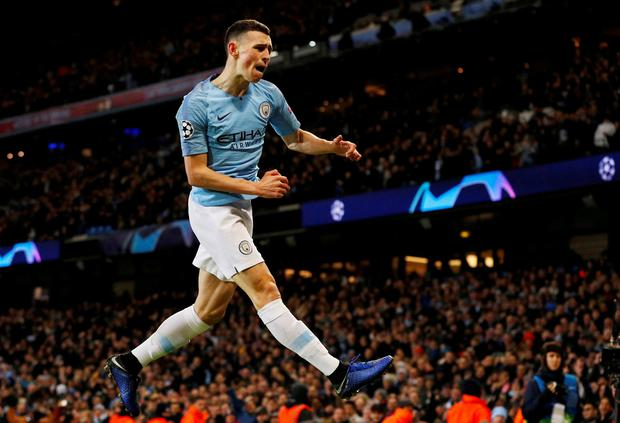 Manchester City's Phil Foden celebrates scoring their sixth goal. Photo: Phil Noble/Reuters