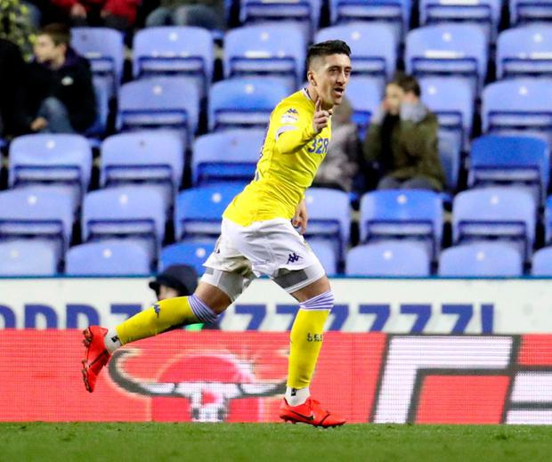 Leeds United's Pablo Hernandez celebrates after he scores to make it 3-0. Photo: Bradley Collyer/PA Wire