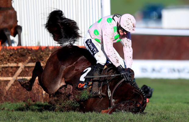 Benie Des Dieux ridden by jockey Ruby Walsh goes down. Photo: Simon Cooper/PA Wire