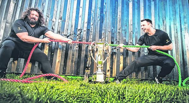Pulling power: Adam Jones and Tommy Bowe at a Six Nations media day in Dublin yesterday Photo: INPHO/Billy Stickland