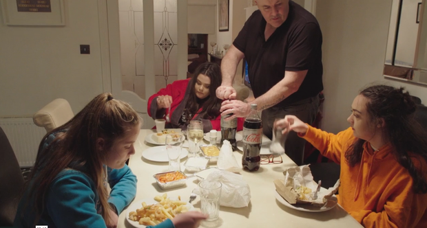 The Twomey family sit down to a takeaway on Virgin Media's