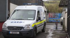 The garage at the rear of an industrial unit on the Blessington Road on the outskirts of Tallaght. Pic: Colin O'Riordan