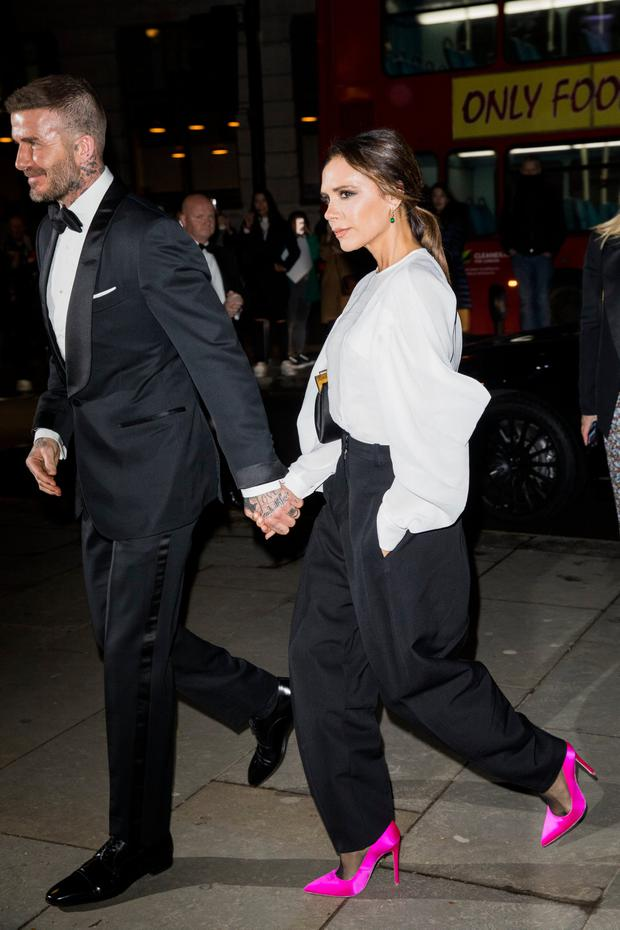 David and Victoria Beckham attends the Portrait Gala at National Portrait Gallery on March 12, 2019 in London, England. (Photo by Tristan Fewings/Getty Images)
