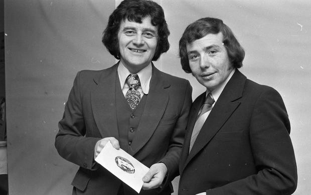 Larry Gogan with singer Joe Cuddy in 1972.