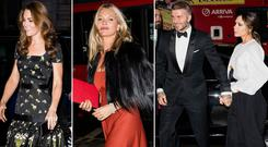 Kate Middleton, left, Kate Moss, centre, David and Vcitoria Beckham, right, at the National Portrait Gallery