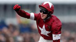 Keith Donoghue celebrates winning the 4.10 Glenfarclas Chase on Tiger Roll Action Images via Reuters/Matthew Childs