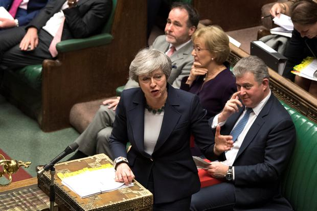 'UK Prime Minister Theresa May's tariff plan targets Ireland's weakest spot.' Photo: UK Parliament/Mark Duffy/Handout via Reuters