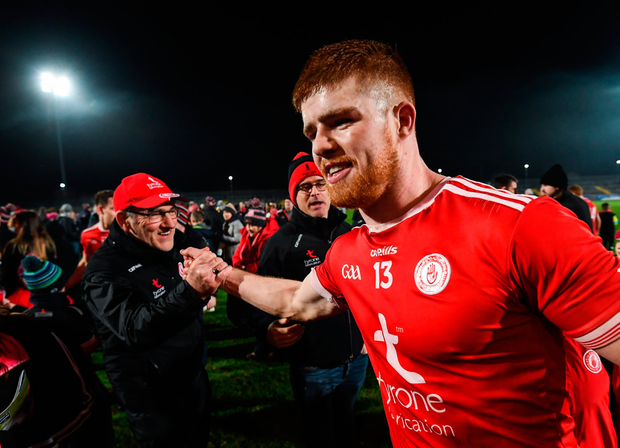 On the hunt: Tyrone manager Mickey Harte congratulates Cathal McShane after their victory over Monaghan which kick-started their Football League campaign. Photo by Stephen McCarthy/Sportsfile