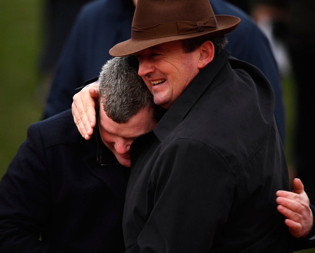 Gigginstown's Eddie O'Leary and trainer Gordon Elliott celebrate. Photo by David Fitzgerald/Sportsfile