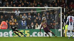 WBA goalkeeper Sam Johnstone looks on as Swansea player Bersant Celina misses his penalty during the Sky Bet Championship match on March 13, 2019. (Photo by Stu Forster/Getty Images)