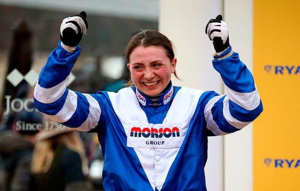 Bryony Frost celebrates victory in the Ryanair Chase aboard Frodon