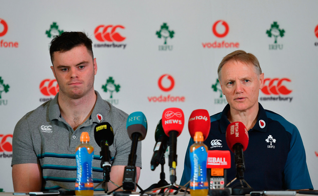Head coach Joe Schmidt and James Ryan during an Ireland rugby press conference