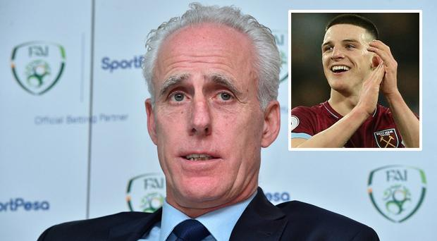 Mick McCarthy and (inset) Declan Rice