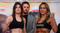 Katie Taylor, left, and Rose Volante square off