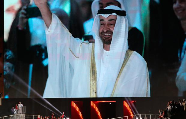 Abu Dhabi's Crown Prince Sheikh Mohammed bin Zayed al-Nahyan is seen on a giant screen at the Zayed Sports City Stadium in the Emirati capital capital during the Special Olympics opening ceremony Photo by Karim Sahib / AFP)KARIM SAHIB/AFP/Getty Images