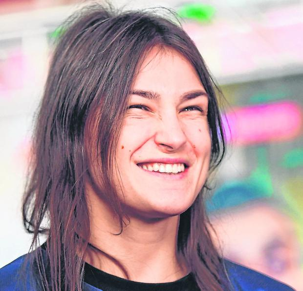 Laughing all the way to the bank: Katie Taylor after weighing in ahead of her fight with Rose Volante in Philadelphia. Photo: Stephen McCarthy/Sportsfile