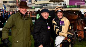 Bells to ring out in victory?: Trainer Willie Mullins (left), owner Graham Wylie (centre) and jockey Ruby Walsh after Bellshill's victory in the Irish Gold Cup last month. They will be hoping for similar success in the Cheltenham equivalent today. Photo: Seb Daly/Sportsfile