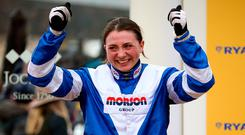 Bryony Frost celebrates victory in the Ryanair Chase aboard Frodon during St Patrick's Thursday of the 2019 Cheltenham Festival. Photo: Nigel French/PA Wire