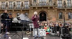 16-year-old Swedish environmental activist Greta Thunberg is seen on stage as she takes part in a protest calling for urgent measures to combat climate change, in Hamburg, Germany. Photo: REUTERS/Morris Mac Matzen