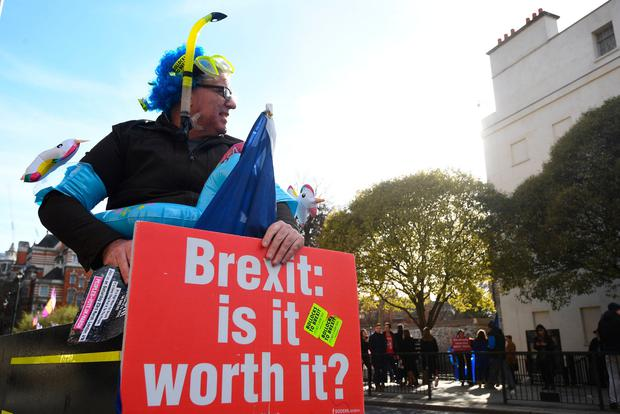 Anti-Brexit supporters outside the House of Commons, Westminster, London. Photo: PA