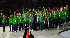 Green Army: Team Ireland is led out by Sports Minister Shane Ross during the Special Olympic World Games 2019 opening ceremony in Abu Dhabi. Photo: Sportsfile