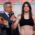 COUNTDOWN: Katie Taylor after weighing in ahead of her IBF, WBA and WBO Lightweight World titles unification bout at the Liacouras Centre, Philadelphia. Photo: Stephen McCarthy/Sportsfile