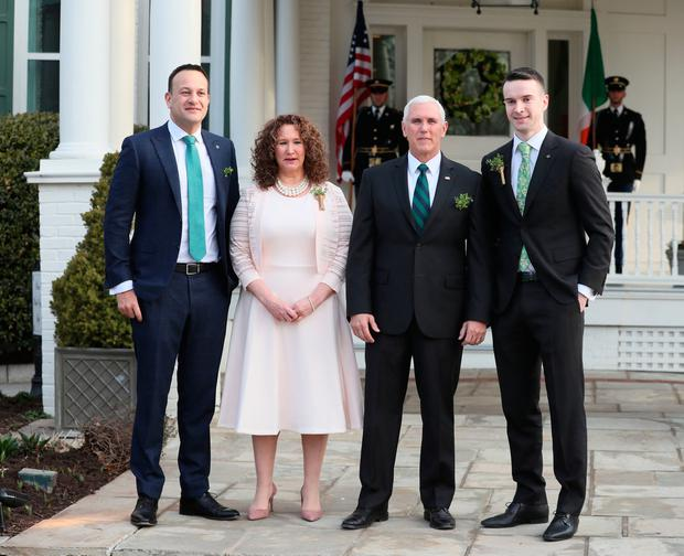 Welcome to America: Taoiseach Leo Varadkar and partner Matt Barrett meet US Vice-President Mike Pence and his sister Anne Pence. PHOTO: BRIAN LAWLESS