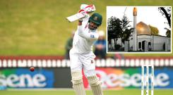 Tamim Iqbal of Bangladesh and (inset) the Al Noor Mosque on Deans Avenue in Christchurch