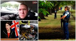 Brenton Tarrant (top left) is the alleged shooter behind attacks on mosques in Christchurch, condemned as terrorism by NZ Prime Minister Jacinta Ardem (bottom left)