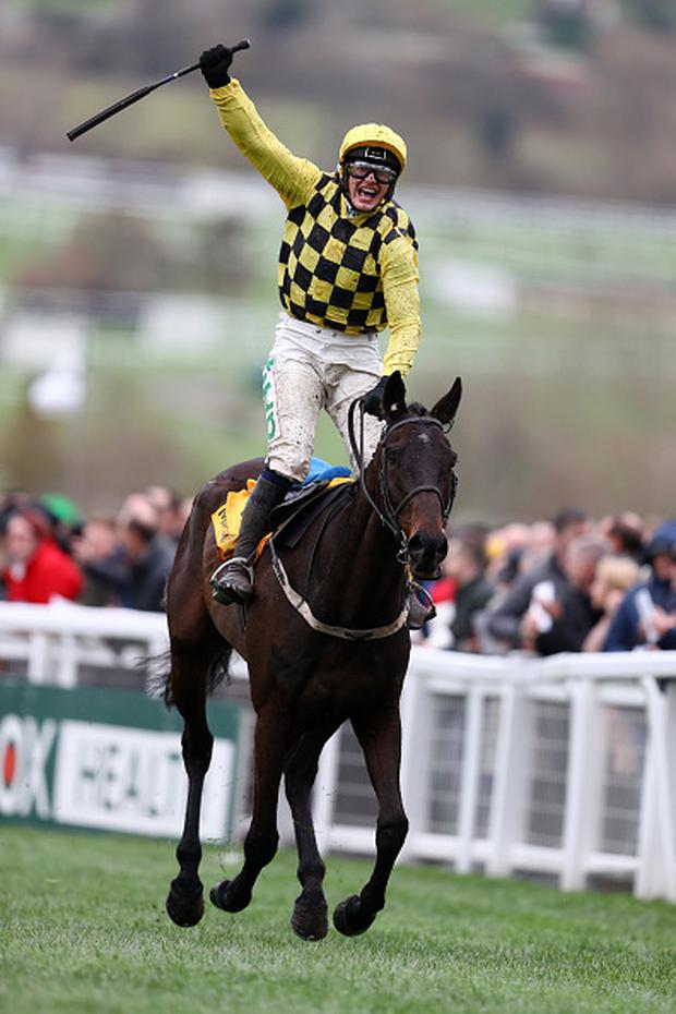 CHELTENHAM, ENGLAND - MARCH 15: Jockey Paul Townend celebrates with horse Al Boum Photo following their victory in The Magners Cheltenham Gold Cup Steeple Chase at the Cheltenham Festival. (Photo by Michael Steele/Getty Images)