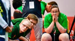 15 March 2019; Team Ireland's Bocce Head Coach Catherine Kelly and members of the team watch a situation develop during the SO Ireland 10-7 win over SO China Bocce match on Day One of the 2019 Special Olympics World Games in the Abu Dhabi National Exhibition Centre, Abu Dhabi, United Arab Emirates. Photo by Ray McManus/Sportsfile
