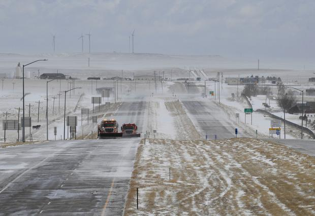 Colorado Department of Transportation now has Interstate 70 reopened, after the bomb cyclone, on Thursday, March 14, 2019, in Limon, Colo. (RJ Sangosti/The Denver Post via AP)