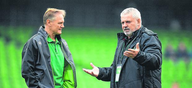 Joe Schmidt and Warren Gatland have a chat before the Ireland v Wales game in Dublin last year. Photo: Brendan Moran/Sportsfile