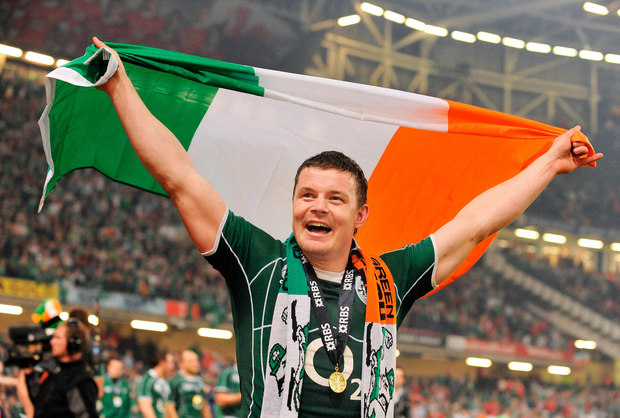 Ireland captain Brian O'Driscoll celebrates after the 2009 victory over Wales. Photo: Brendan Moran/Sportsfile