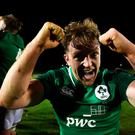 15 March 2019; Liam Turner of Ireland celebrates after winning the U20 Six Nations Rugby Championship match between Wales and Ireland at Zip World Stadium in Colwyn Bay, Wales. Photo by Piaras Ó Mídheach/Sportsfile