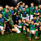 15 March 2019; Ireland celebrate with the cup after winning the U20 Six Nations Rugby Championship match between Wales and Ireland at Zip World Stadium in Colwyn Bay, Wales. Photo by Piaras Ó Mídheach/Sportsfile