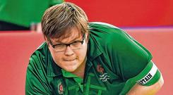 Irish action: Richard Currie in a 10-7 bocce win over China. Photo: Ray McManus/Sportsfile