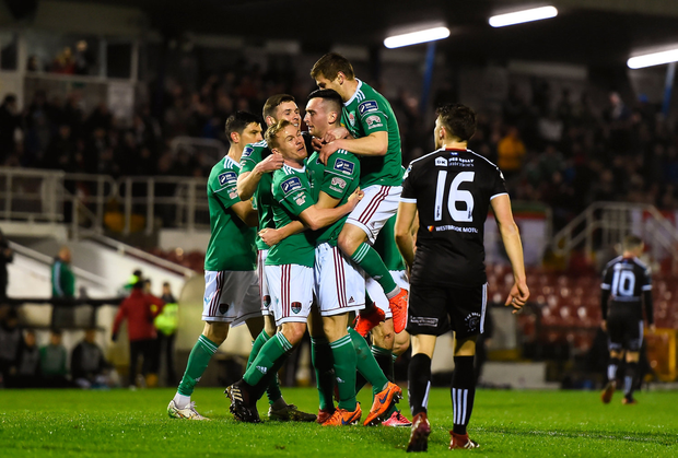 15 March 2019; Conor McCarthy of Cork City, centre, celebrates with team-mates after scoring his side's first goal during the SSE Airtricity League Premier Division match between Cork City and Bohemians at Turners Cross in Cork. Photo by Eóin Noonan/Sportsfile