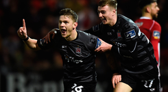 15 March 2019; Sean Murray of Dundalk celebrates with team-mate Daniel Kelly after scoring his side's first goal during the SSE Airtricity League Premier Division match between Derry City and Dundalk at Ryan McBride Brandywell Stadium in Derry Photo by Oliver McVeigh/Sportsfile