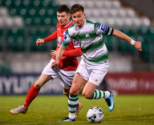 Ronan Finn of Shamrock Rovers in action against Johnny Dunleavy of Sligo Rovers during their SSE Airtricity League Premier Division match. Photo: Harry Murphy/Sportsfile