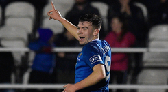 15 March 2019; Aaron Drinan of Waterford FC celebrates after scoring his side's first during the SSE Airtricity League Premier Division match between Waterford and St Patrick's Athletic at the RSC in Waterford. Photo by Matt Browne/Sportsfile