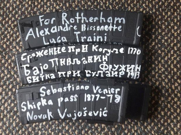 Names written on ammunition seen in a photo posted on Twitter by the gunman. Photo: Twitter/via Reuters