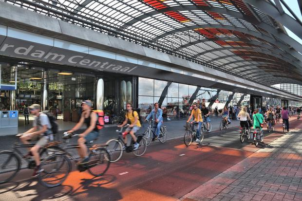 Cycle lanes at Fairview will be Dutch style, modelled to a degree on those in Amsterdam (above)