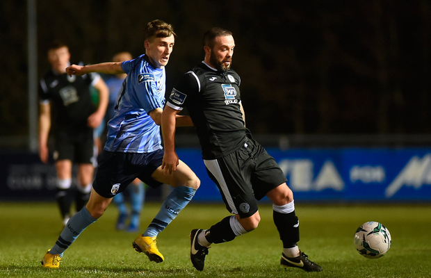 15 March 2019; Raffael Cretaro of Finn Harps in action against Kevin Coffey of UCD during the SSE Airtricity League Premier Division match between UCD and Finn Harps at the Belfield Bowl in Dublin. Photo by Ben McShane/Sportsfile