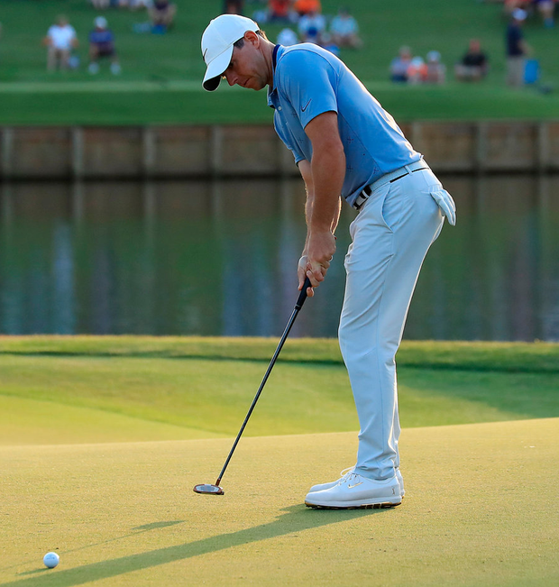 Rory McIlroy putts for eagle on the 16th green during the second round of The Plyaers Championship at Sawgrass yesterday. Photo: Sam Greenwood/Getty Images
